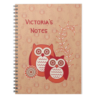 Retro Owls Personalized Notebook