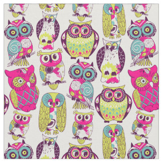Retro Owls - Pink and Green Fabric