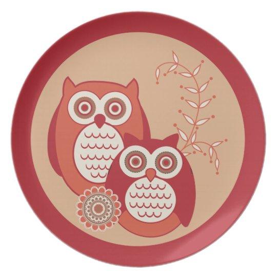 Retro Owls Plate