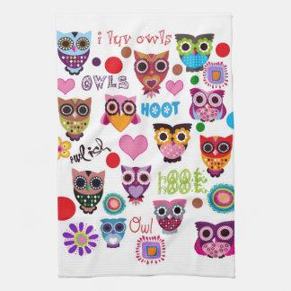 Retro Owls Tea Towel