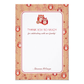 Retro Owls Thank You Flat Cards