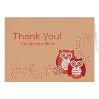 Retro Owls Thank You Note Card
