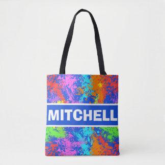 Retro Paint Splash Personalized Blue Tote Bag