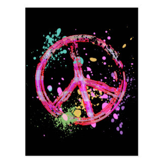 RETRO PAINT SPLATTER PEACE SIGN POSTCARD