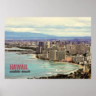 Retro Painting Hawaii Waikiki Beach Poster