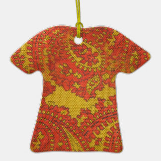 Retro Paisley Dress Double-Sided T-Shirt Ceramic Christmas Ornament