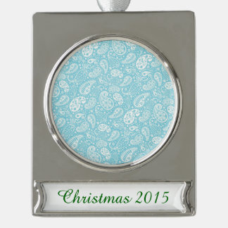 Retro Paisley in Teal Blue Silver Plated Banner Ornament