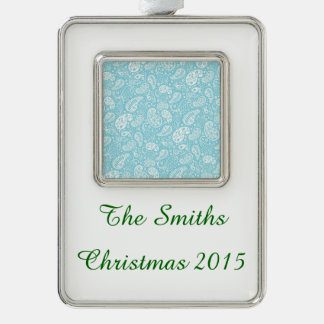 Retro Paisley in Teal Blue Silver Plated Framed Ornament