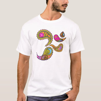 Retro Paisley Om Yoga T-shirt