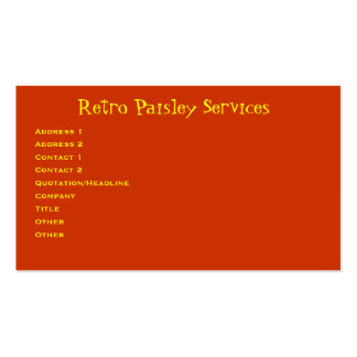 Retro Paisley Pack Of Standard Business Cards