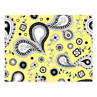 Retro Paisley Pattern Yellow Postcard