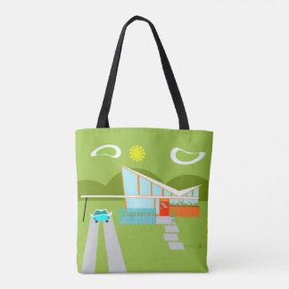 Retro Palm Springs House All-Over Print Tote Bag