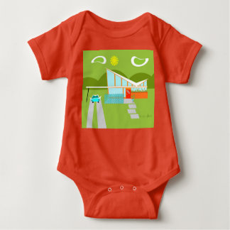 Retro Palm Springs House Baby Bodysuit