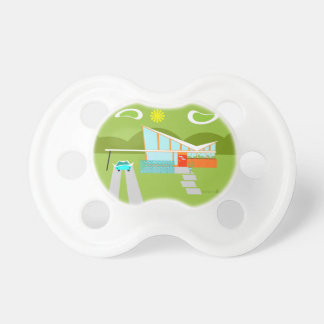 Retro Palm Springs House Baby Pacifier