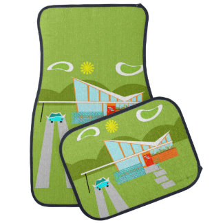 Retro Palm Springs House Car Mats Floor Mat