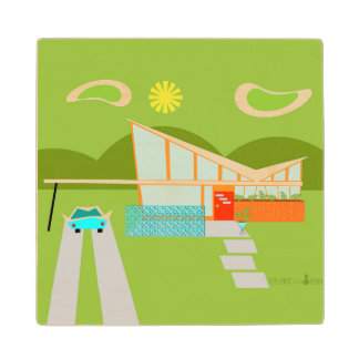 Retro Palm Springs House Marble Wooden Coaster