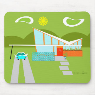Retro Palm Springs House Mousepad