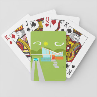 Retro Palm Springs House Playing Cards