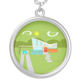 Retro Palm Springs House Round Necklace