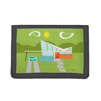 Retro Palm Springs House Trifold Nylon Wallet