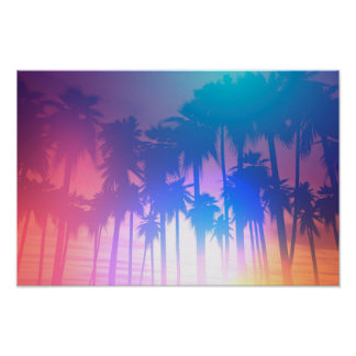 Retro Palm Trees Landscape Photo Poster