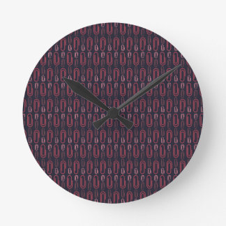 Retro Paper Clip Pattern Round Wall Clocks
