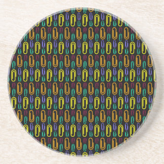 Retro Paper Clip Pattern Drink Coaster