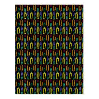 Retro Paper Clip Pattern Postcard