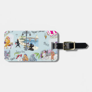 Retro Paris Poodle Collage Luggage Tag
