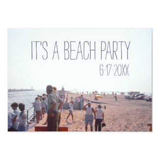 Retro Party At The Beach People Gathering 13 Cm X 18 Cm Invitation Card