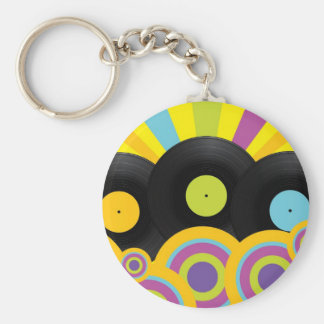 Retro Party Background Key Ring