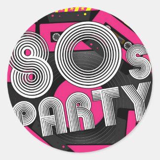 Retro Party Background Round Sticker
