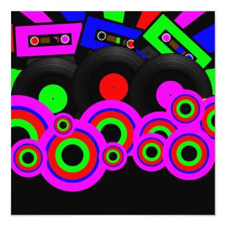 Retro Party Design 13 Cm X 13 Cm Square Invitation Card