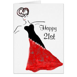 Retro Party Girl  Birthday Greeting Card