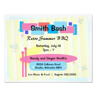 """Retro Party Invite Postcard 4.25"""" X 5.5"""" Invitation Card"""