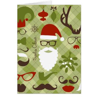 Retro Party Set - Santa Claus Beard, Hats, Deer Greeting Card