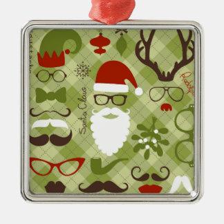 Retro Party Set - Santa Claus Beard, Hats, Deer Silver-Colored Square Decoration