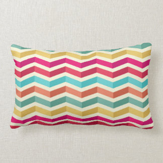 Retro Pastel Chevron Pattern Lumbar Pillow