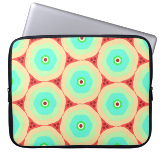 Retro pastel circles in circles laptop sleeve