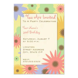 "Retro Pastel Flowers Party Invitation 5"" X 7"" Invitation Card"