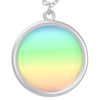 Retro Pastel Rainbow Heart Round Pendant Necklace