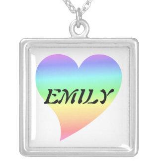 Retro Pastel Rainbow Heart Square Pendant Necklace