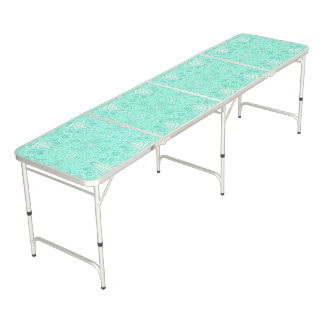 Retro pastel sea green pattern pong table