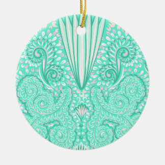 Retro pastel sea green pattern round ceramic decoration