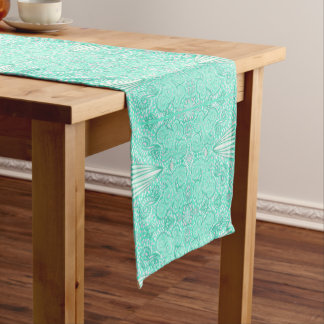 Retro pastel sea green pattern short table runner