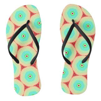 Retro pastels in circles flip flops