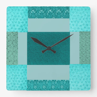 Retro Patchwork Teal Wall Clock