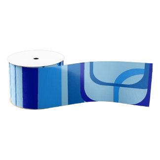 retro pattern 1971 blue grosgrain ribbon