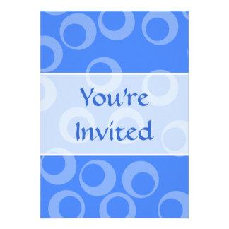 Retro pattern Circle design in blue Personalized Invitation