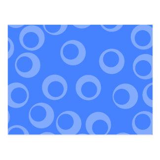 Retro pattern. Circle design in blue. Postcard